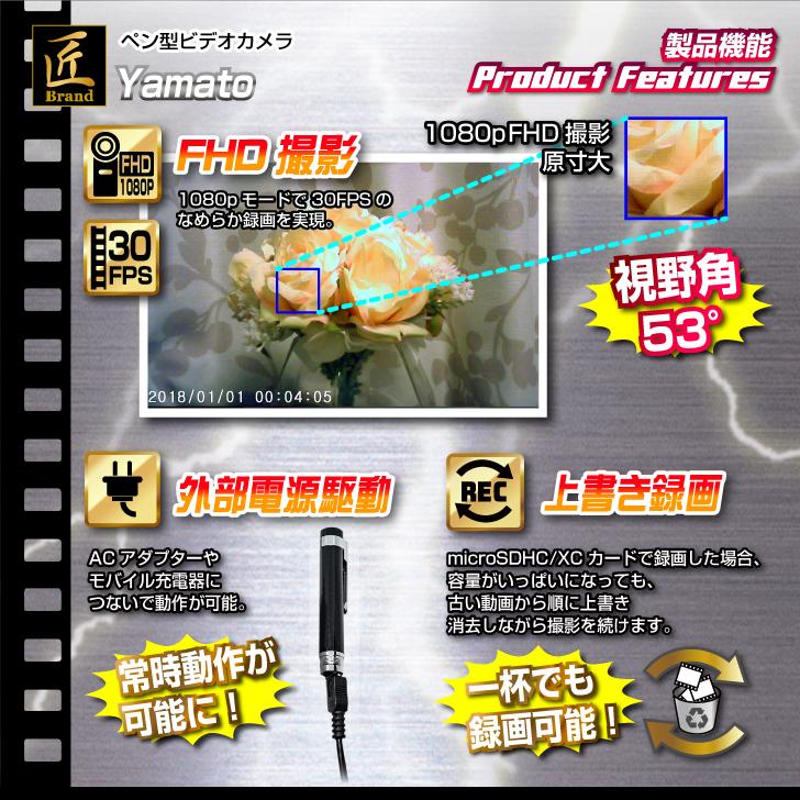 【小型カメラ】ペン型ビデオカメラ(匠ブランド)『Yamato』(ヤマト